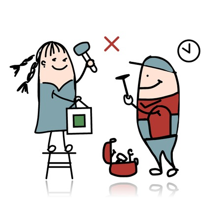 Woman and repairman, sketch for your design Vector