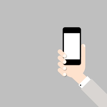 man on cell phone: Hand with mobile phone Illustration