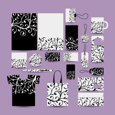 business style: Corporate business style. Floral design Illustration