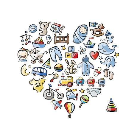 Diseño de la forma del corazón con los juguetes para el bebé Ilustración de vector