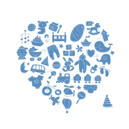 nappies: Heart shape design with toys for baby boy Illustration