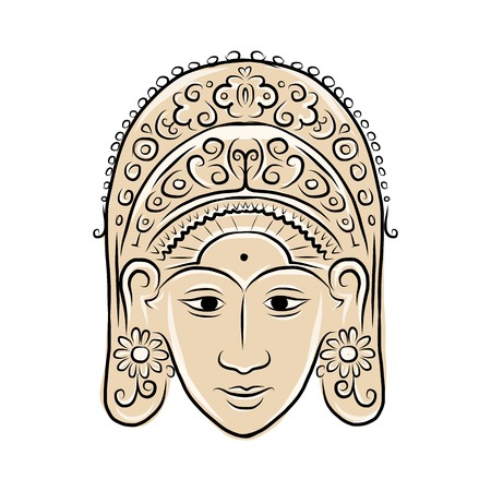indonesian: Wooden mask of indonesian dancer woman, sketch for your design