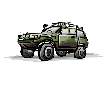 off road: Tuned jeep, sketch for your design Illustration