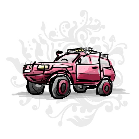 off road: Female pink jeep, sketch for your design