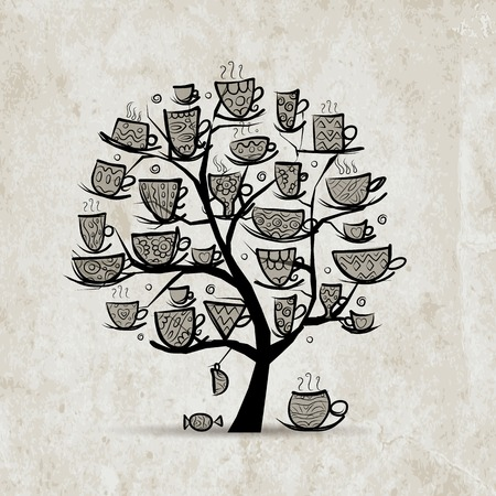 coffee tree: Art tree with mugs and cups. Sketch for your design