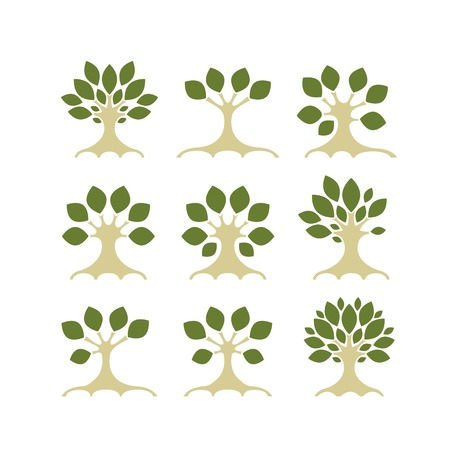 Set of art trees for your design Vector