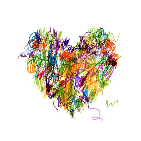 Colorful heart shape pencil drawing for your design Vector