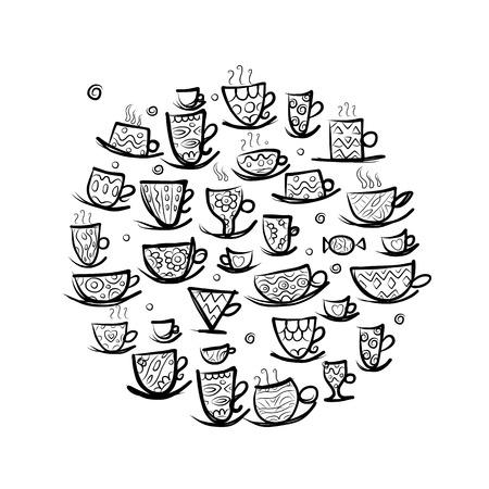 latte art: Frame with ornate mugs. Sketch for your design