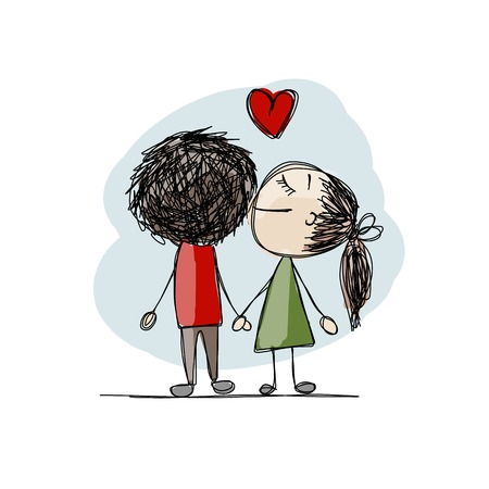 happy couple: Couple in love kissing, valentine sketch for your design