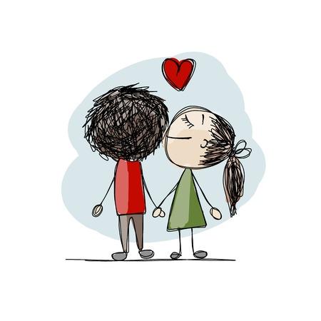 enamorados besandose: Pareja de enamorados besándose, boceto de San Valentín para su diseño Vectores