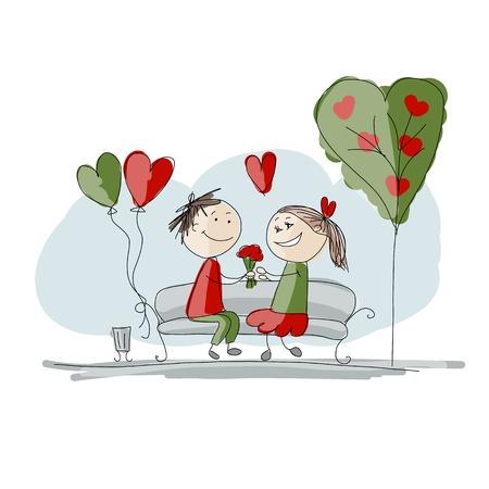 사랑의 키스 커플, 디자인을위한 발렌타인 스케치 일러스트
