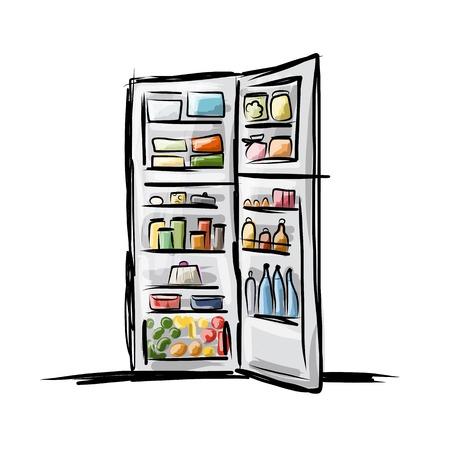 음식으로 가득 찬 냉장고를 열었고 디자인에 대한 스케치 일러스트