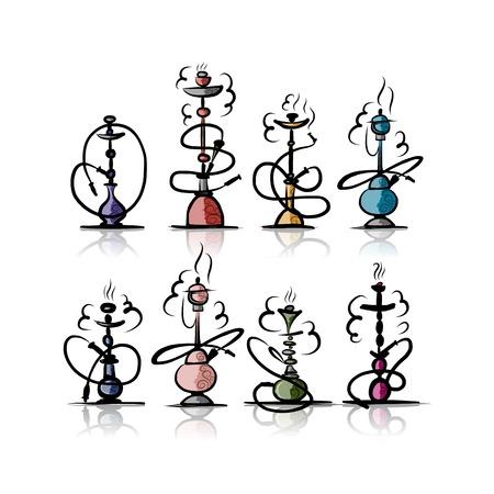 Hookah set, sketch for your design Ilustrace