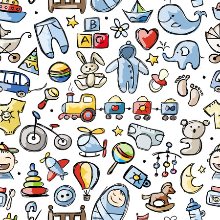 soother: Toys for baby boy, seamless pattern for your design Illustration