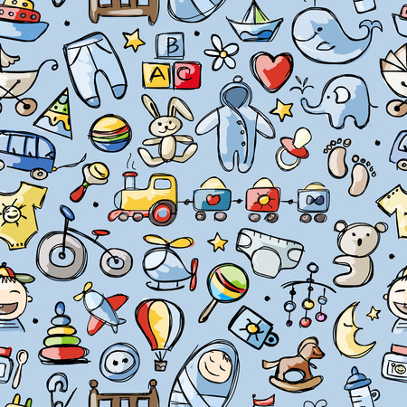 Toys for baby boy, seamless pattern for your design Vectores