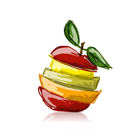 apple slice: Slices of fruits, apple shape. Sketch for your design Illustration