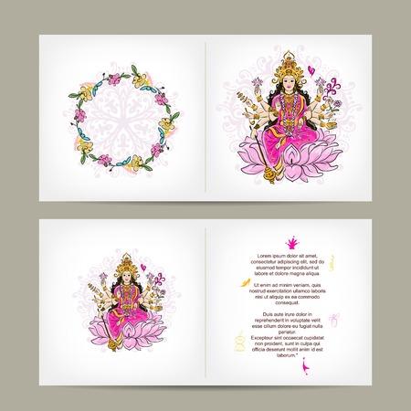 mano de dios: Diosa hind� Shakti, dise�o de postales