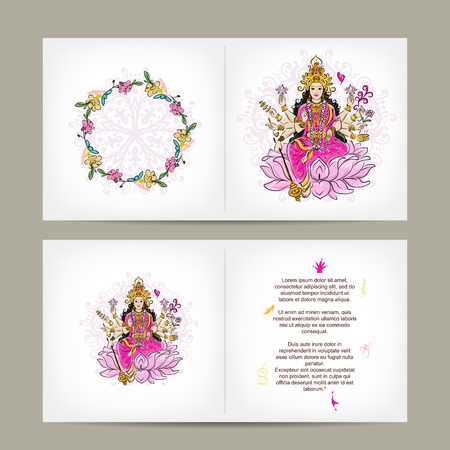 woman praying: Indian goddess Shakti, postcard design
