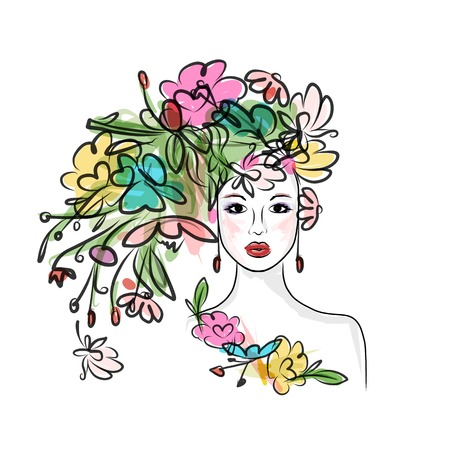 pink lips: Female face with floral hairstyle for your design