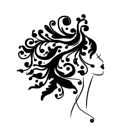 hair ornament: Female head silhouette for your design