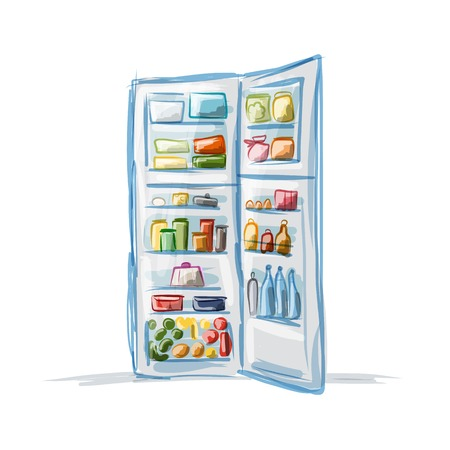 Opened fridge full of food, sketch for your design
