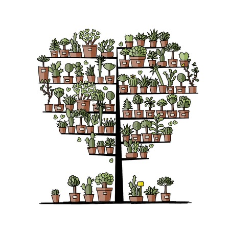 Art tree with plants in pots, sketch for your design Vector