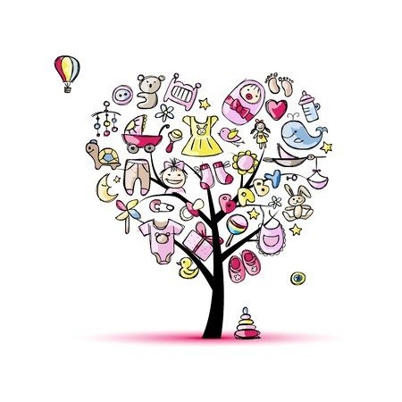 nappies: Heart shape tree with toys for baby girl Illustration