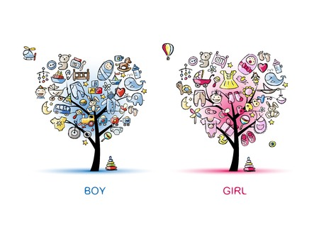 tree toys: Heart shaped trees design for baby boy and girl
