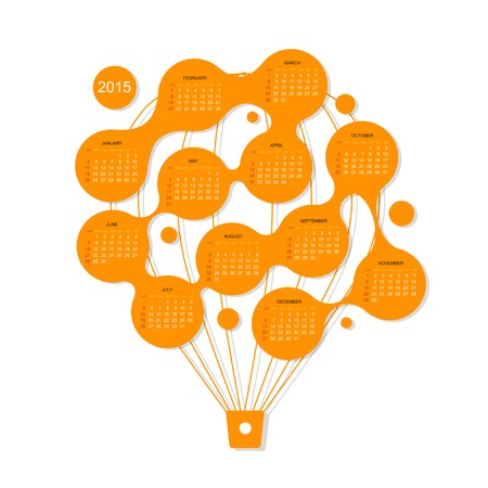 Calendar grid 2015,  Air balloon for your design Illustration