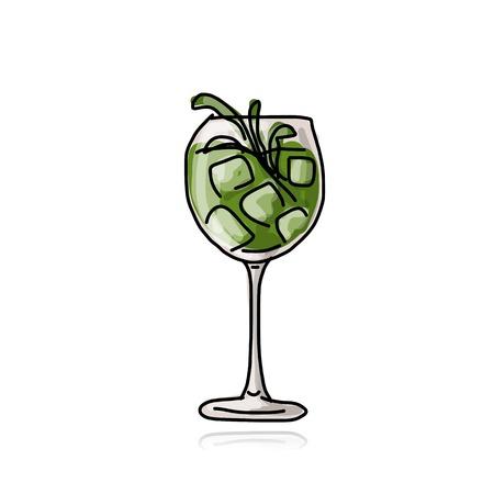 cocteles de frutas: Coctel verde, bosquejo para su diseño