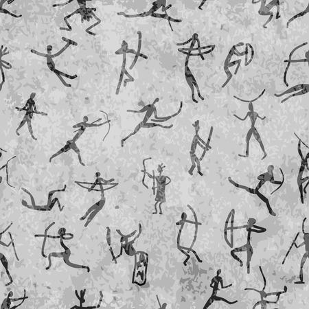 pintura rupestre: Pinturas rupestres con personas étnicas, modelo inconsútil Vectores