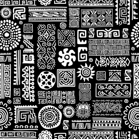 geometric shapes: Ethnic handmade ornament, seamless pattern for your design Illustration