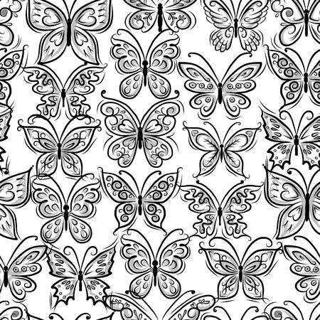 Butterflies ornate, seamless pattern for your design Vector
