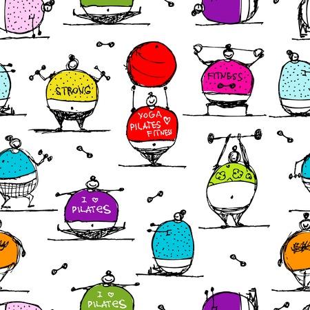 pilates ball: Fat people doing sports, seamless pattern Illustration
