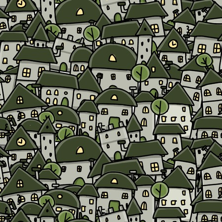 town houses: City sketch, seamless pattern for your design Illustration