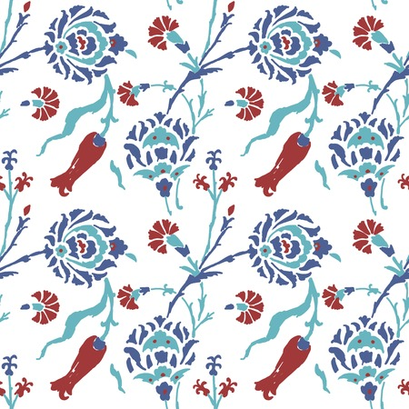 blue tulip: Abstract turkish pattern for your design Illustration