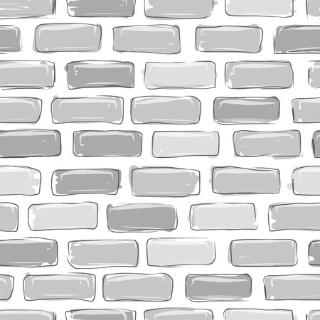 building sketch: Brick wall grey, sketch for your design Illustration