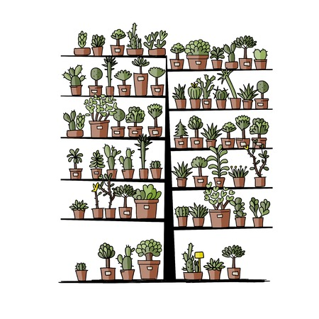 potted plant cactus: Art tree with plants in pots, sketch for your design