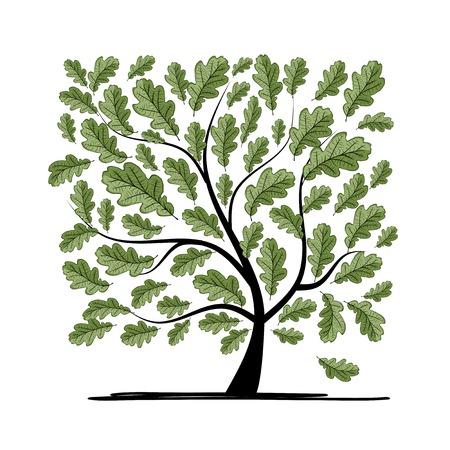 Eiken boom voor uw ontwerp Stock Illustratie