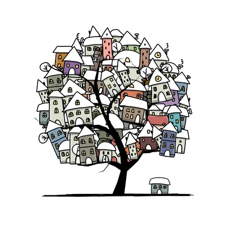 Winter city sketch, art tree concept for your design