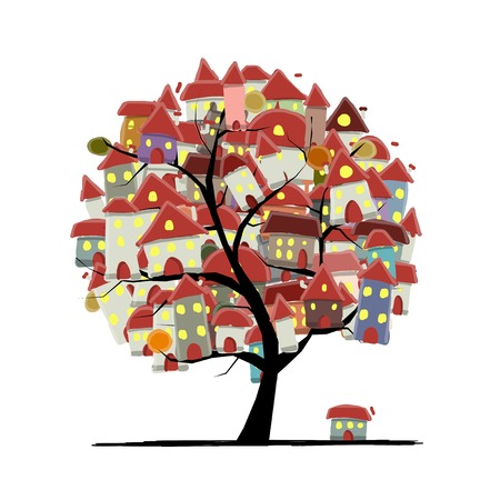 City sketch, art tree concept for your design Vettoriali