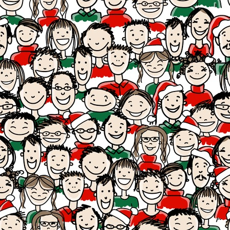 office party: Christmas party with group of people, seamless pattern