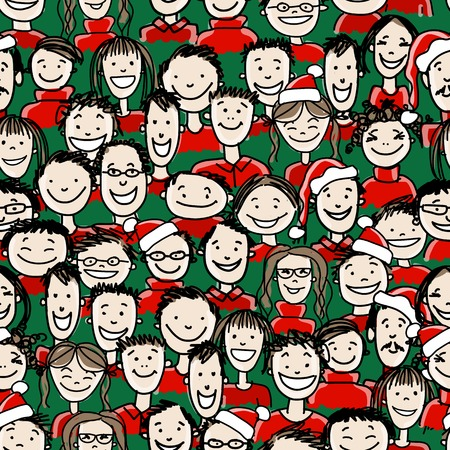 red head girl: Christmas party with group of people, seamless pattern