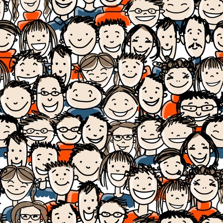 Seamless pattern with people crowd for your design  イラスト・ベクター素材