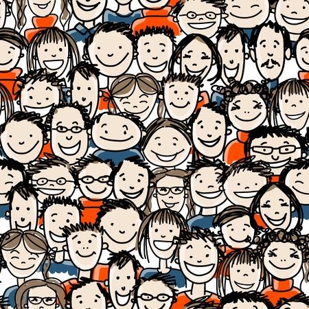 bocetos de personas: Patr�n sin fisuras con la gente se aglomera para su dise�o