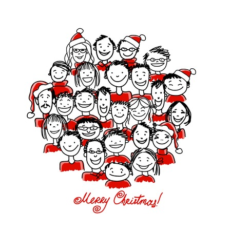 office party: Christmas party with group of people, sketch for your design Illustration