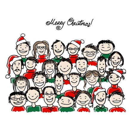 Christmas party with group of people, sketch for your design Illustration