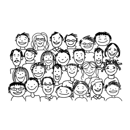 Groupe de personnes, esquisser pour votre conception Banque d'images - 37038331