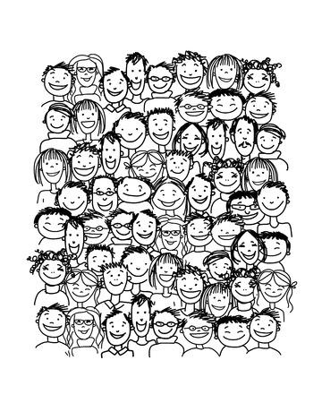 Groupe de personnes, esquisser pour votre conception Banque d'images - 37038332
