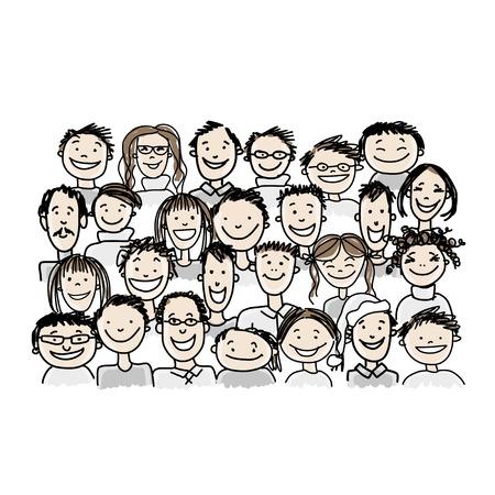 Groupe de personnes, esquisser pour votre conception Banque d'images - 37038340